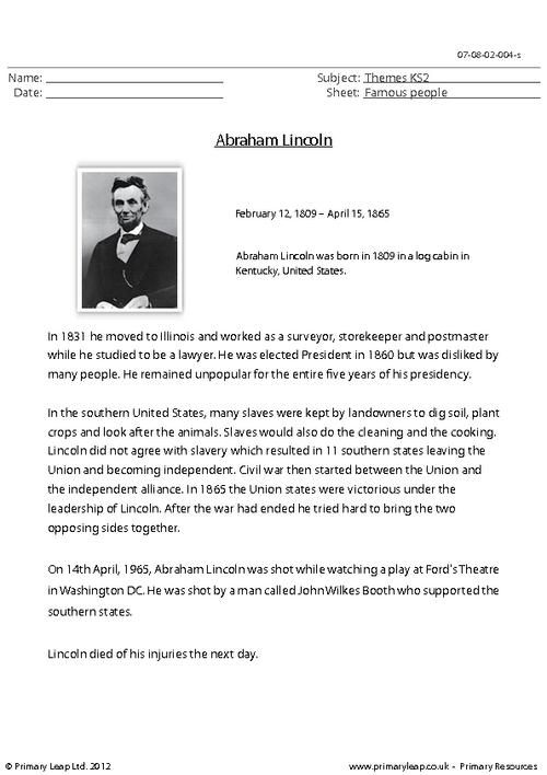 Primaryleap Co Uk Abraham Lincoln Comprehension