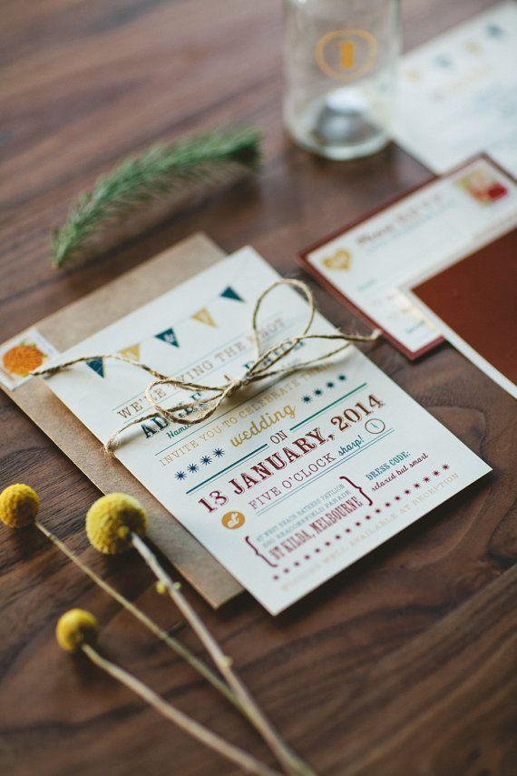 Vintage and Rustic Wedding Invitation  Mustard by WideEyesDesign, $3.00