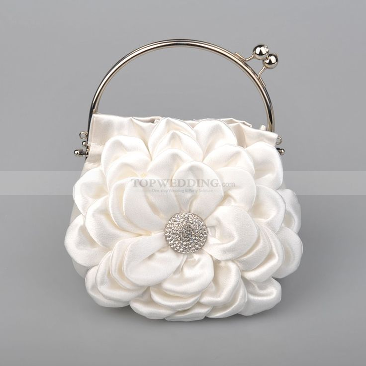 White Four Tiered Floral Satin Bridal Handbag with Rhinestone