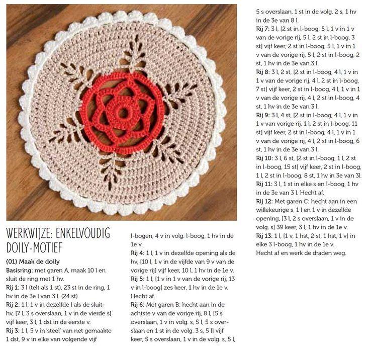 free crochet doily pattern in Dutch - Haakpatroon Doily Molly Makes Haken