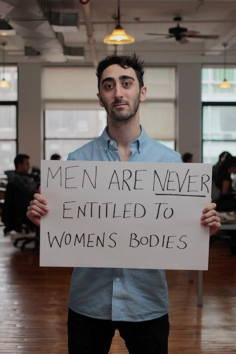 """Men respond to the hate-fueled rampage of UCSB shooter Elliot Rodger in 2014. Elizabeth Plank: """"In our culture, misogyny isn't the exception, it's still the rule."""" 35 photos of men showing all men can have respect for women without ever becoming less of a man. #YesAllWomen #AllMenCan"""