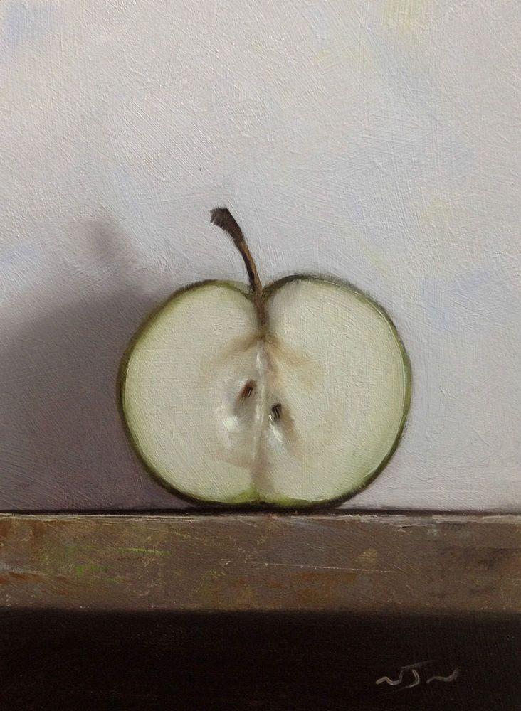 Original Oil Painting - Half Apple - Contemporary Still Life Art - Nelson