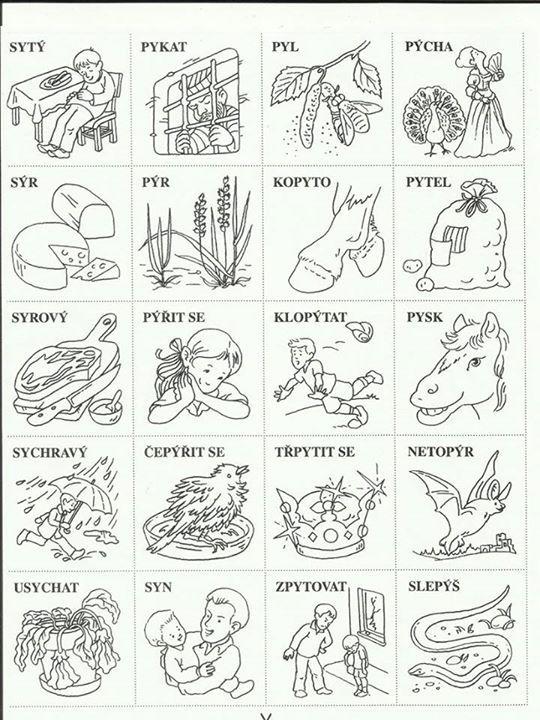 Vyjmenovaná slova - kartičky s obrázky