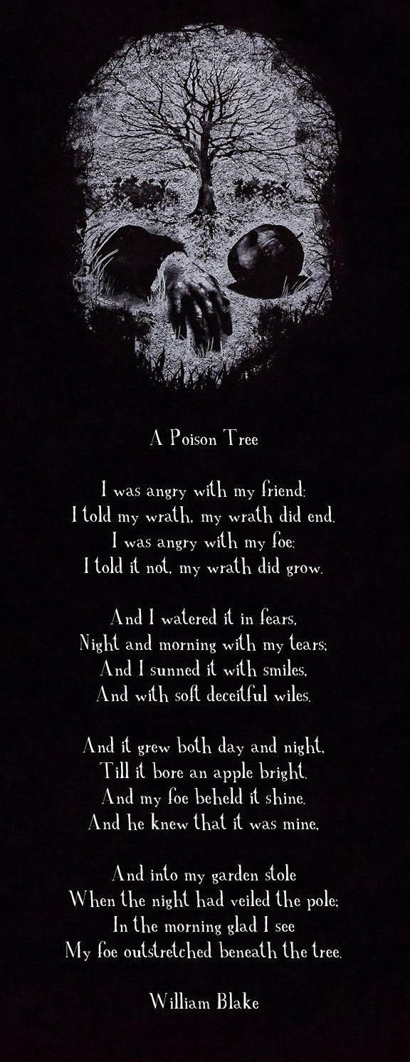 The poison tree. How eerily fitting of a poem! I read this everyday when I wake up. #motivation
