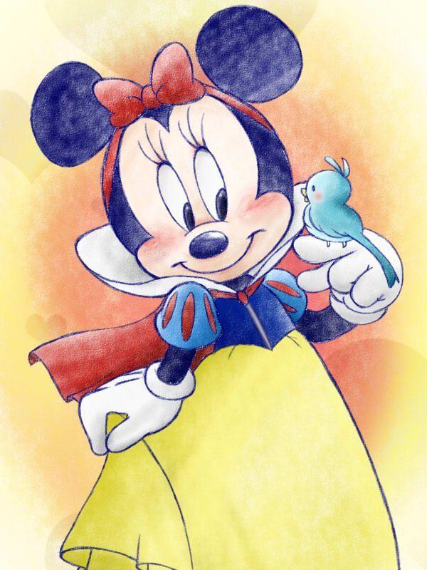 Картинка девушки нарисованная микки маус