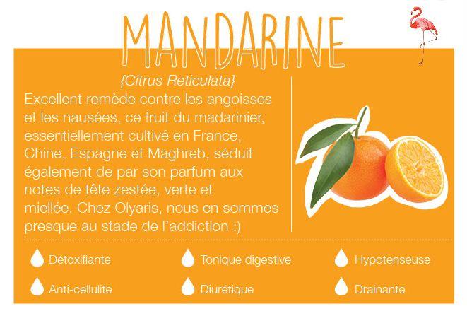 Fruit du mandarinier, arbre de la famille des Rutacées.Cultivée en France, Chine, Espagne et au Maghreb.Son odeur a des notes de tête, une odeur zestée, acidulée, verte et miellée. Elle traite l'angoisse, est relaxante et anti-nauséeuse.