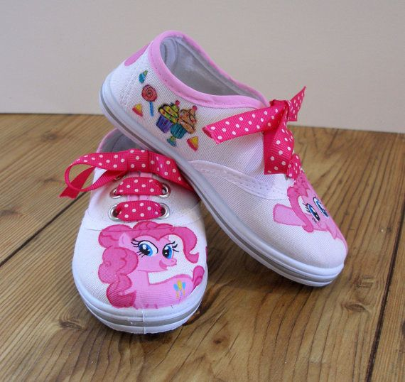Hand painted Children My Little Pony shoes Pinkie by BeressyArt