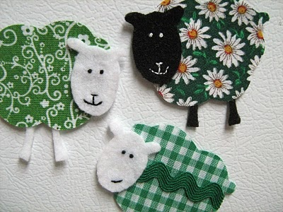 Fabric sheep could be put on top of little handprint for Sheep christmas ornament craft