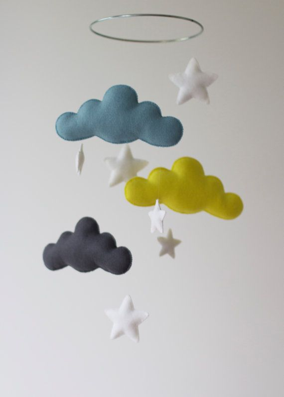 Welcome to  Haven and Willow  =========================================  White,Blue, Yellow, with White Plush Stars Cloud Mobile  Clouds and Stars made of 100% Merino Wool felt. Stuffed with new Hobby Fill.  All hand-stitched on a Silver Hoop. (can choose a different style)  Can be done with different star and cloud colours ! Send me a message with what youd like and ill send you a picture with felt options for the colour youre wanting…
