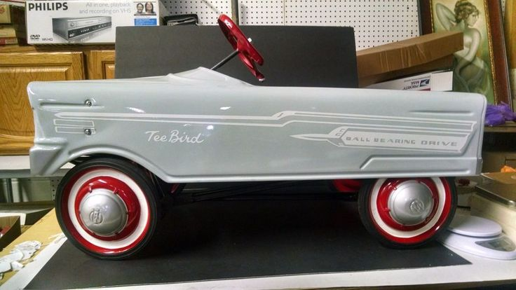 Tee Bird Grey Red And White Ball Bearing Drive Pedal Car Mint