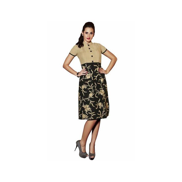 Viva N Diva Beige & Black Color Pure Linen Kurti http://goo.gl/8OQxdU