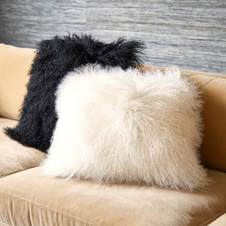 Trippy Texture.  Made from luxe Mongolian sheep fur, these pillows will add soft-focus glamour to your sofa or bedscape. Chic up your chalet, perk up your penthouse, or stylize your studio. #jonathanadler #homedecor
