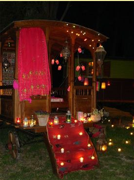 Gypsy Party - Bohemian Chic Decorations - Plenty of Lanterns and Votives - Bright colored tasseled scarves