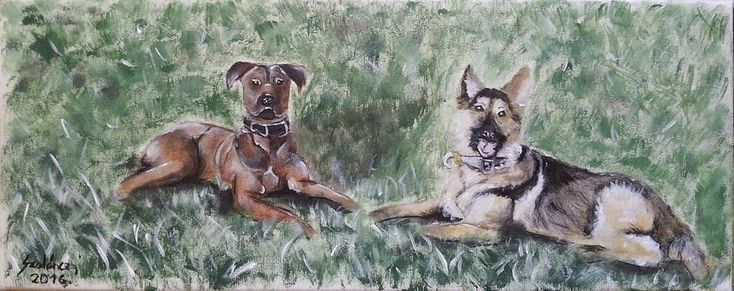 Dog Painting - After Playing by Judit Szalanczi