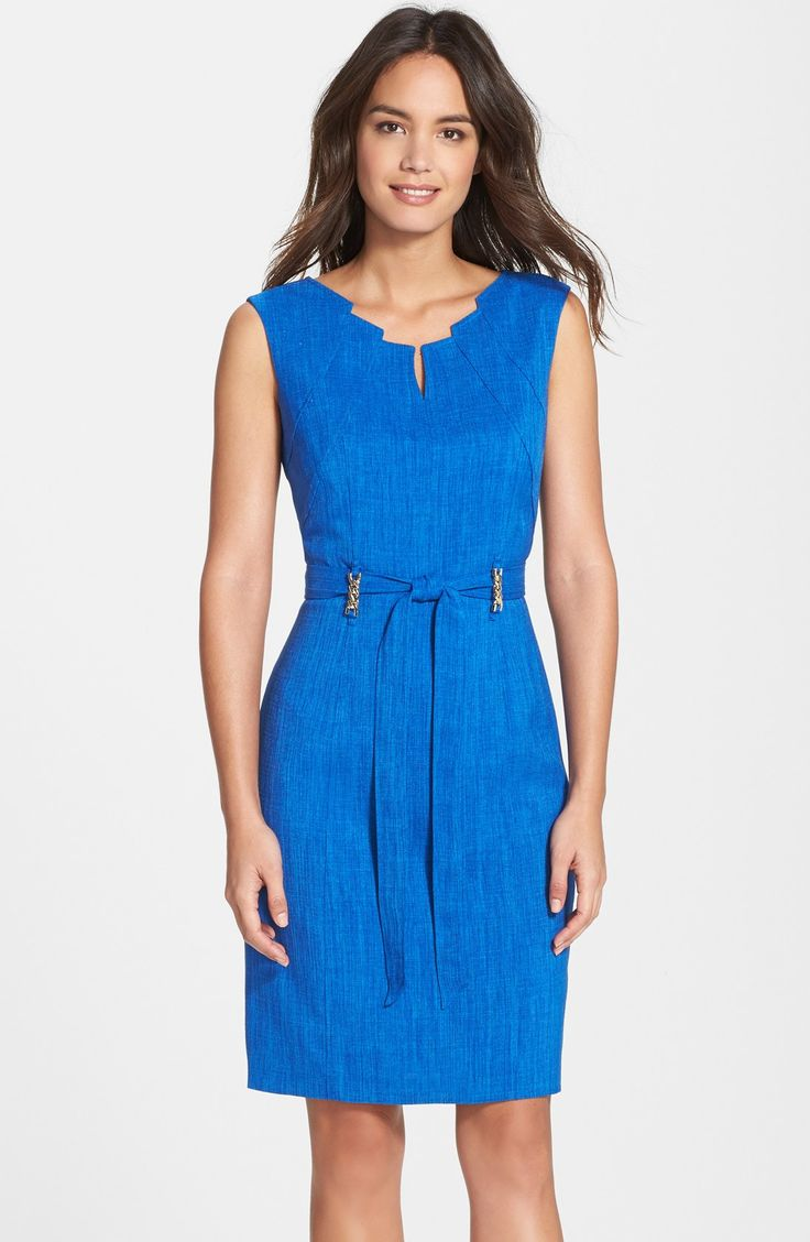 Free shipping and returns on Ellen Tracy 'Kenya' Belted Sheath Dress at Nordstrom.com. An architectural neckline, glinting chain details and a slender waist tie update a seamed sheath dress woven with flattering texture.