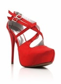 Strappy Satin Heel...comes in Red & Black