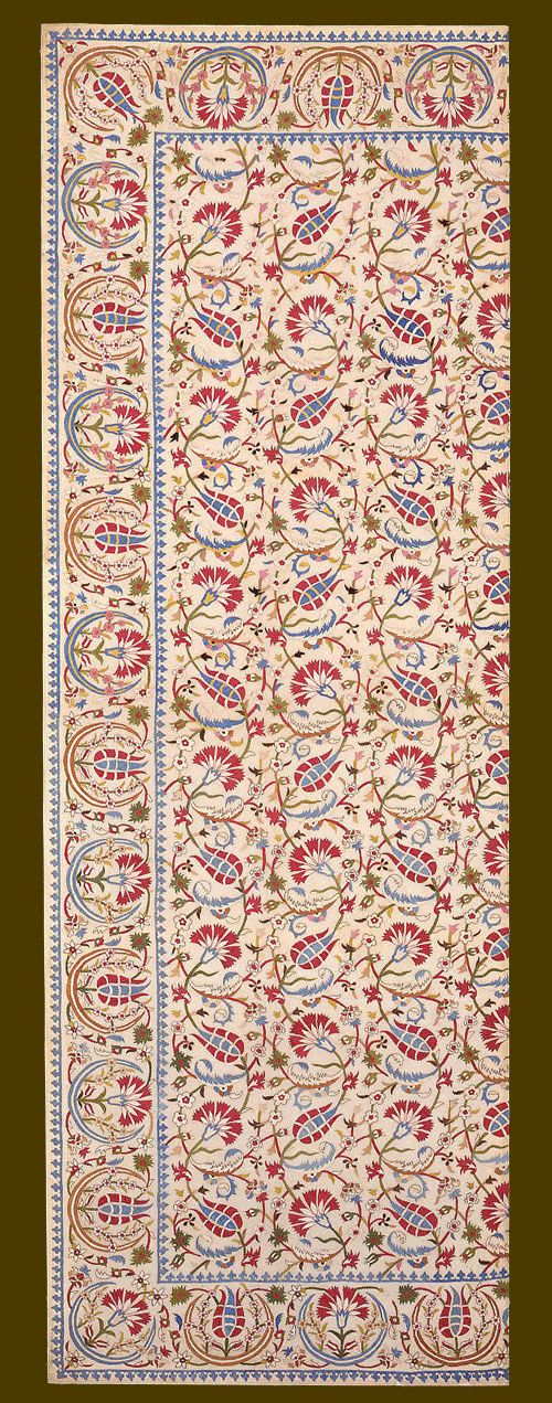 Embroidered cover fragment, Ottoman, Turkey, Istanbul, late 17th or early 18th century. The Textile Museum 1.22, acquired by George Hewitt Myers before 1940