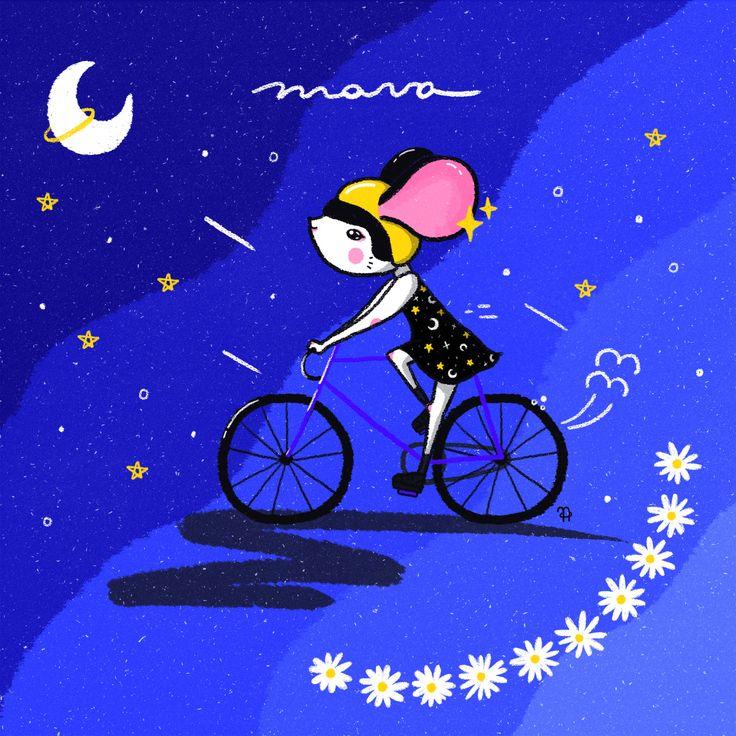 ✧ N A U T A ✧ #nauta #nauta1992 #adobe #photoshop #wacom #illustration #ilustración #dibujo #fluor #pastel #color #cosmos #space #galaxy #universe #harajuku #mouse #rat #bike #helmet #moon #night