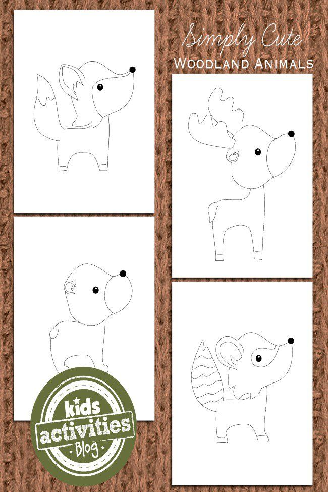 these adorable woodland animal coloring pages for kids have simple lines and will work for paint
