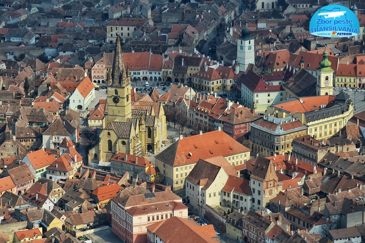 Hermannstadt - Sibiu, Romania, Transylvania, aerial view