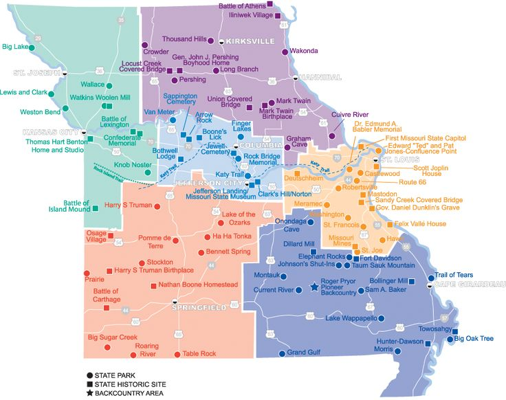 MO, US - Locator Map. Use the map by clicking on a region or view a list of parks below the map.