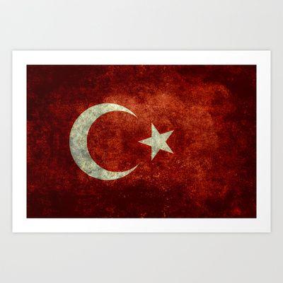 The National flag of Turkey - Vintage version Art Print by LonestarDesigns2020 - Flags Designs + - $15.00