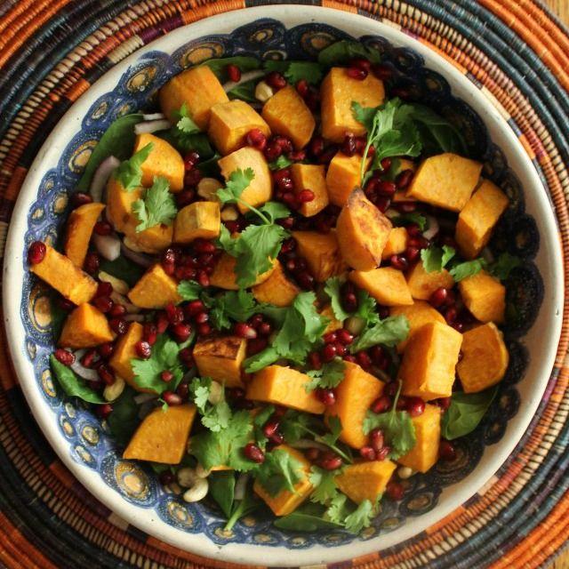 Sweet Potato, Cashew Nut & Pomegranate Salad.