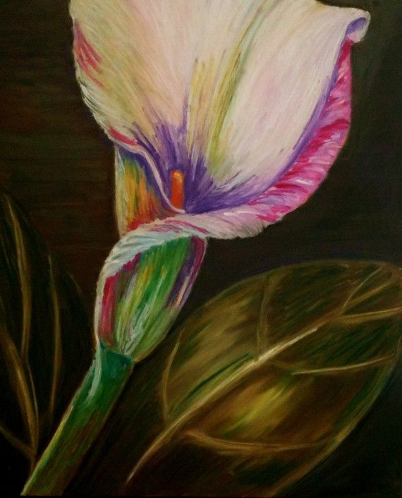 Original oil pastel art board calla lily bud plant flower floral 14 in x17 in