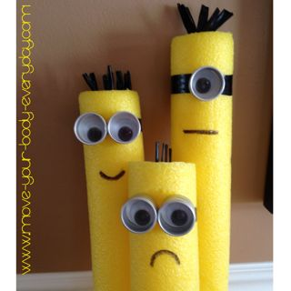 pool noodle minions! Need golf tees for arms and legs.