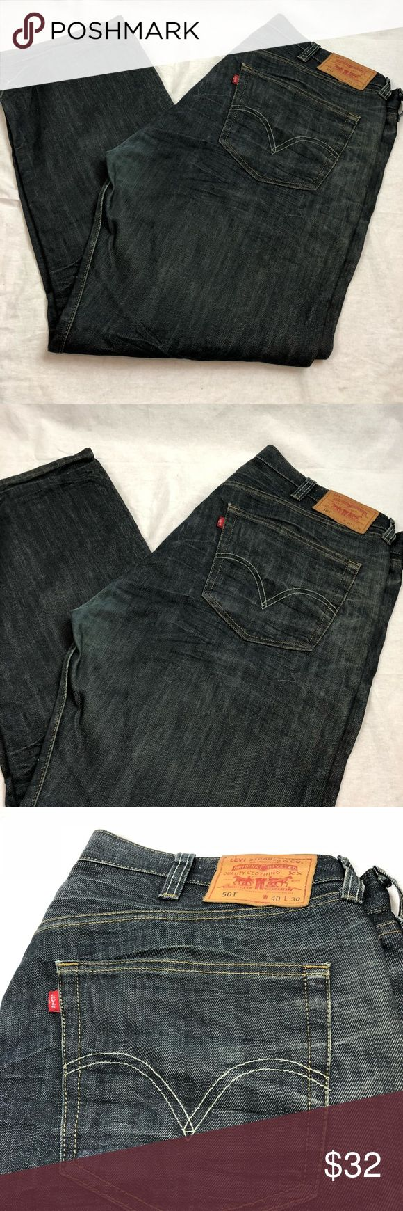 """🍕LEVI Original 501 Straight Leg Button Fly Jeans 🍕Levi 501 straight leg button fly Dark wash pre-owned condition Levi's """"501 jeans. It is a size 40"""" waist X 30 Length inseam Great dark wash, straight leg, button fly jeans. Crisp & clean gently used no flaws overall length 45"""" Levi Jeans Straight"""