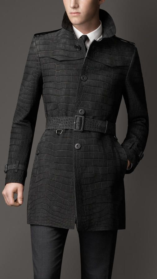 Burberry Mid-Length Alligator Leather Trench Coat on shopstyle.com