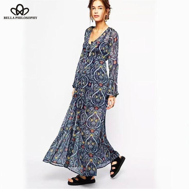 2015 spring summer new Womenswear wholesale ethnic Boho trumpet kimono long sleeves heart print v-neck chiffon long dress - http://www.styliate.me/http://www.styliate.com/products/2015-spring-summer-new-womenswear-wholesale-ethnic-boho-trumpet-kimono-long-sleeves-heart-print-v-neck-chiffon-long-dress/