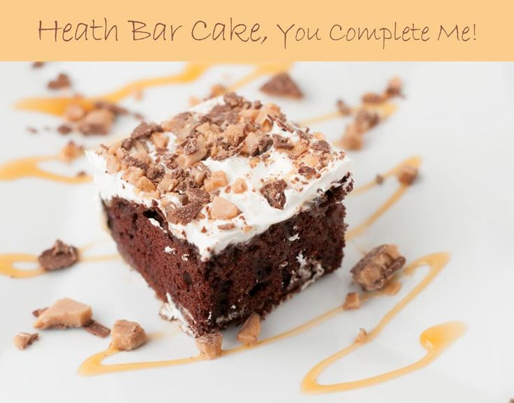 This delicious heath bar cake will not disappoint. Easy to prepare devil's food cake topped with cool whip and heath bar crumble.