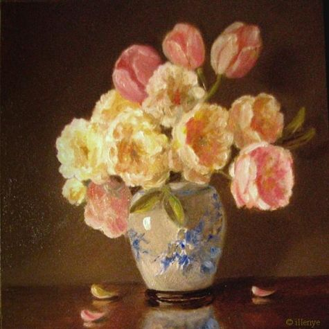 oil pastel art | miniature floral oil painting pastel roses & tulips, original painting ...