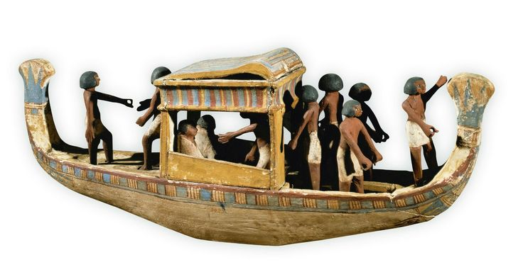 Barcos de peregrinos  Los egipcios debían realizar una peregrinación a Abydos, donde se hallaba la tumba de Osiris, para garantizarse una próspera eternidad. Para el viaje se usaban pequeños barcos como éste. En las tumbas se han hallado maquetas y relieves que los representan.