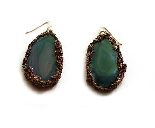 Agate Slice Earrings: Agate, Micro Beads