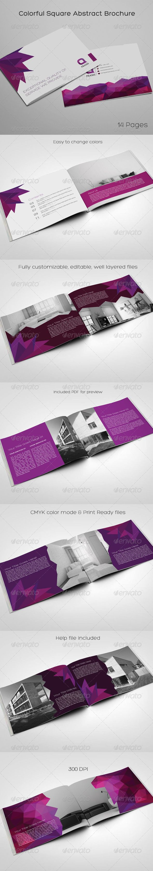 Colorful Square Abstract Brochure — InDesign INDD #modern #minimal • Available here → https://graphicriver.net/item/colorful-square-abstract-brochure/8594835?ref=pxcr