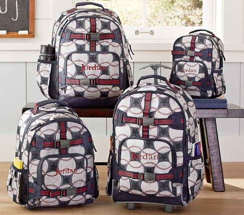 Mackenzie Blue Baseball Backpacks | Pottery Barn Kids