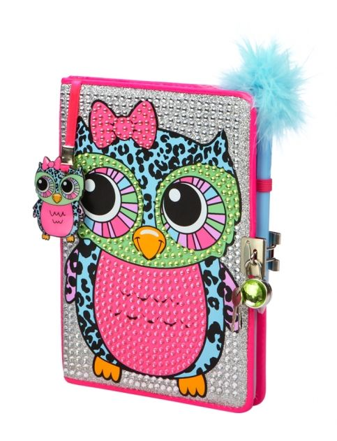 Justice Toys For Girls : Bling owl diary with feather pen lock key girls