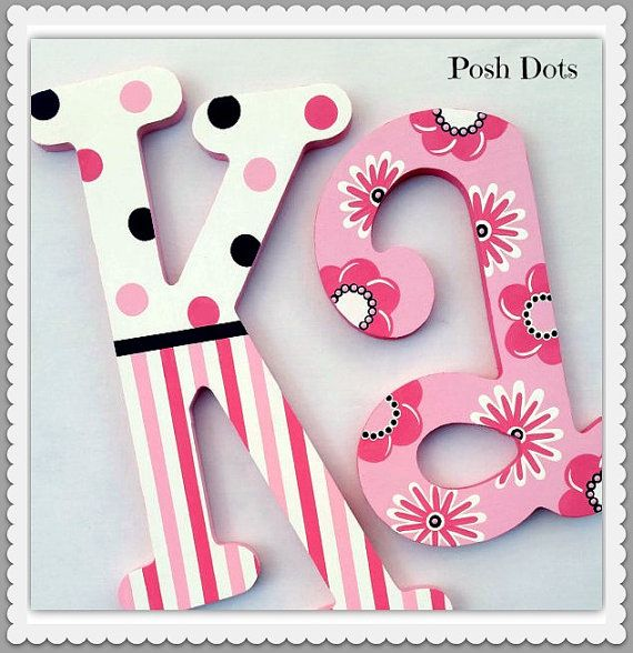 Nursery Letters Wooden Letters Playroom Letters by PoshDots