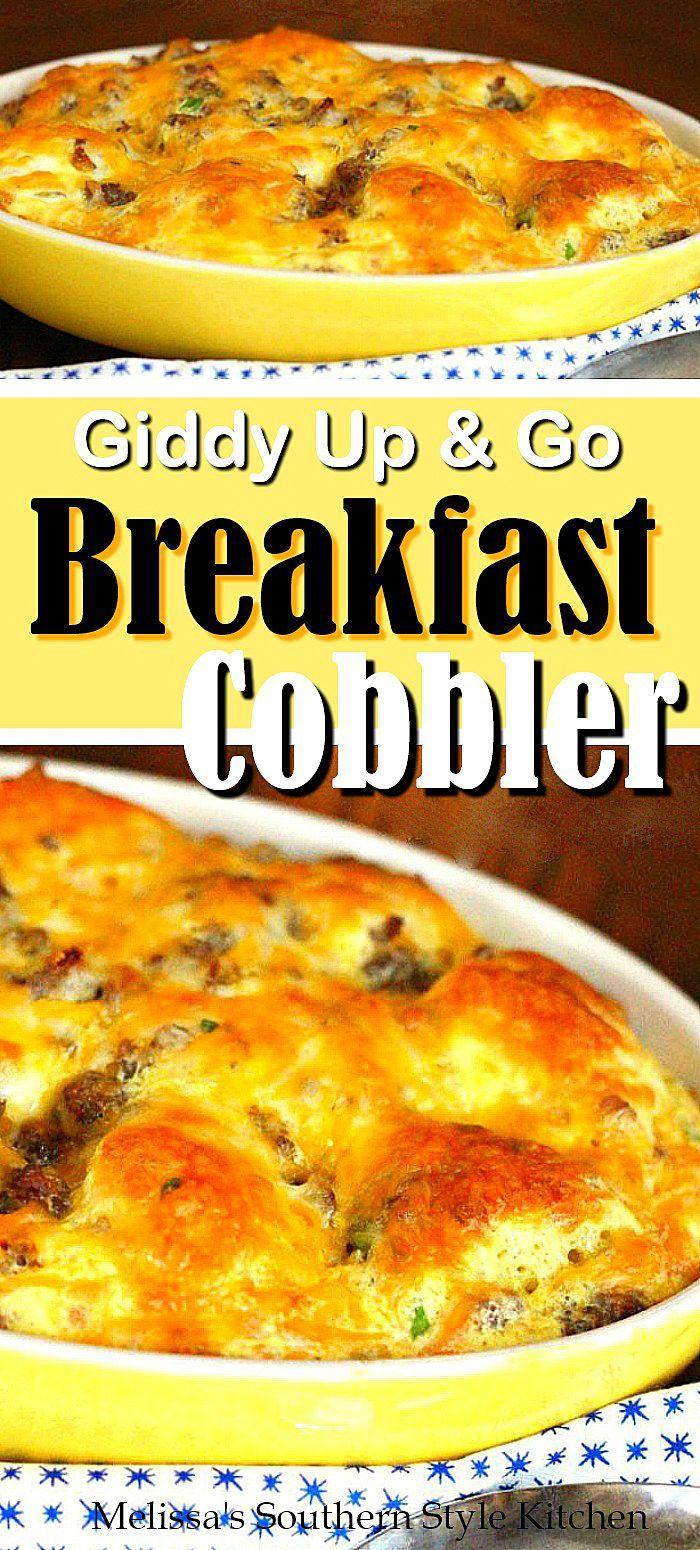 Giddy Up and Go Breakfast Cobbler #breakfast #brunch #breakfastcasserole #biscuits #casseroles