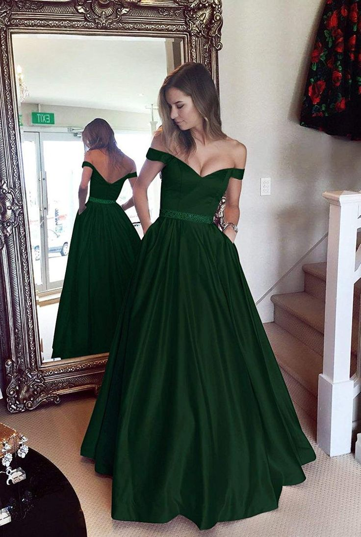 Long Satin Emerald Green Off the Shoulder Prom Dress Formal Evening Gown with Pockets