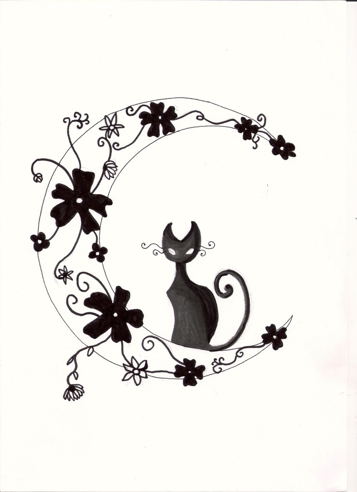 Black cat on a moon tatoo