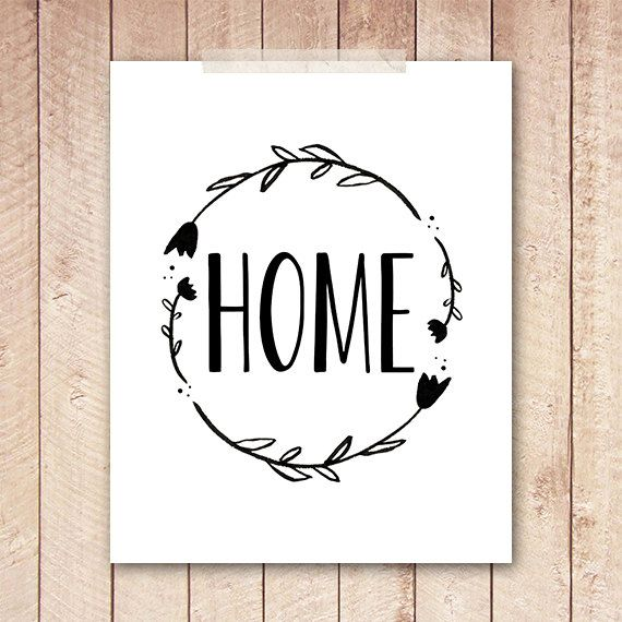 8x10 Art Print, PRINTABLE Home Typography Printable Sign, Wreath, Black and White, Wall Art, Instant Download, Tribal, Indie, Nature