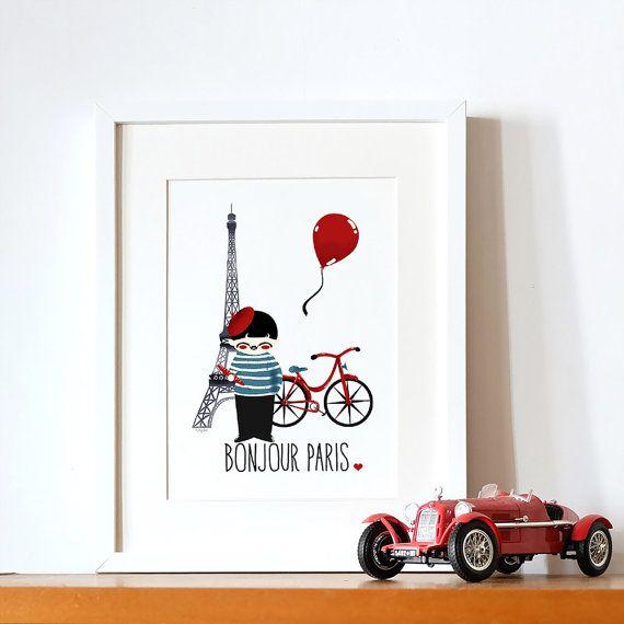 Affiche décorative enfant - Voyage - Paris