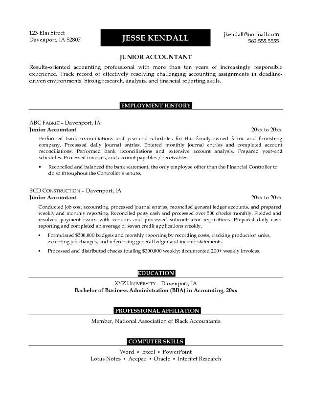 junior accounts manager resume