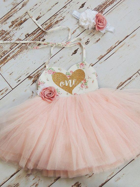 First Birthday Outfit Birthday Dress Floral Pink Tutu Dress Boho
