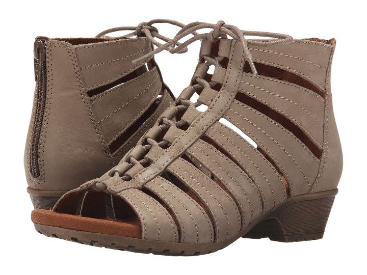 Cobb Hill Gabby Wide Width Open Toe Ghillie Shoe is partly sandal, partly bootie. It is just on trend, sassy, stylish, comfortable and has a real leather upper. Low heel and platform accounts for comfort. Laces will help you adjust the width of the shoe. Once you fine- tune the width, you can easily put them on / off using the back zipper.