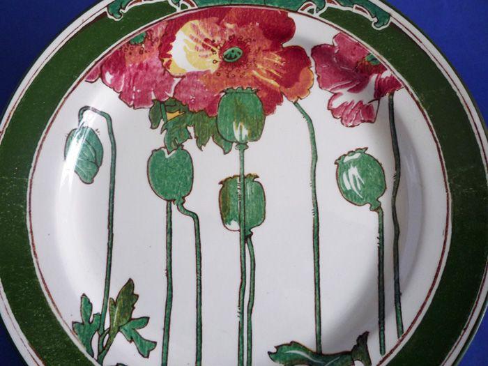 Royal Doulton Art Nouveau 'Poppies B' Series Ware Rack Plate D3225 c1910