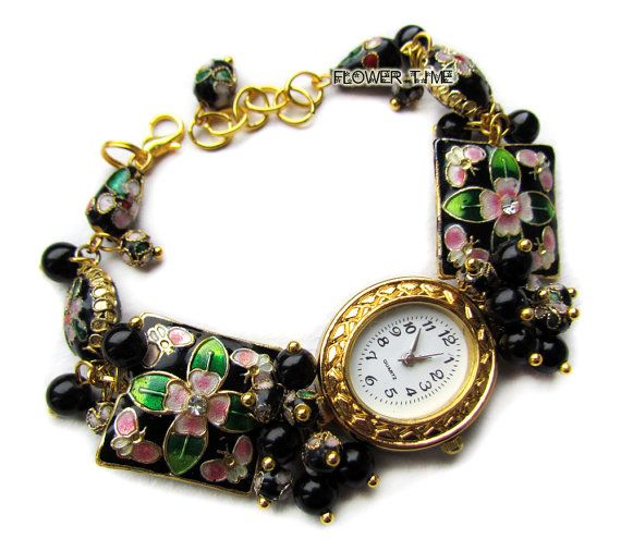 Black wrist watch handmade ladies watch cloisonne by FlowerWatch